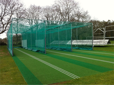 The three lanes Non-turf cricket net Facility at Cleeve CC, build by Total Play