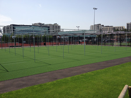 QE Olympic Park Non-turf practice system refurbished Side angle