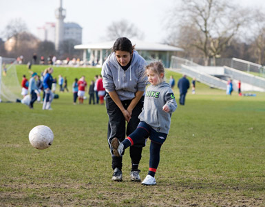 Coaching football at Regent's Park