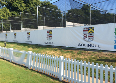 Solihull School custome banners on new cricket practice system