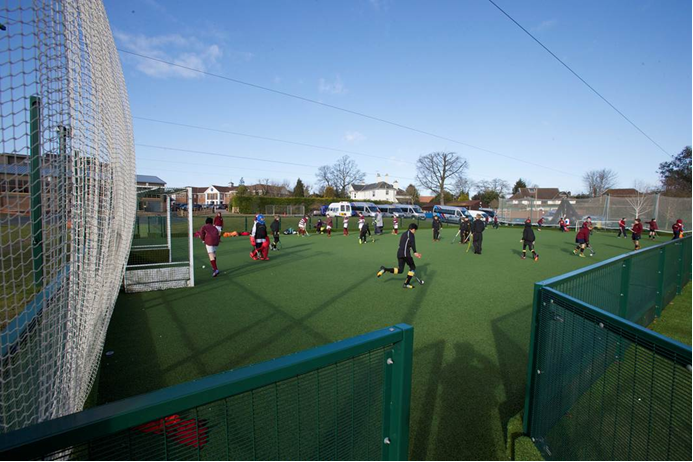 MUGA being used for Football at Churchers College