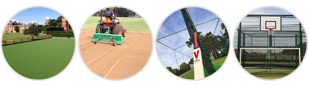 Four Circles showing: an artificial Pitch, plowing sand, cricket bat with Netting, and MUGA