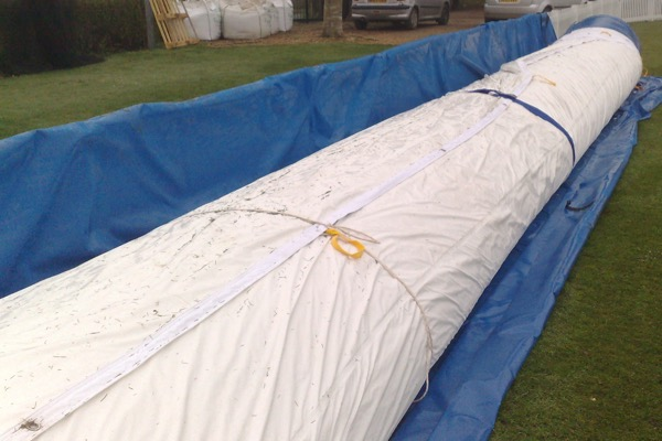Protective Sleeve releasing Climate Cover Pitch Protection, inflated