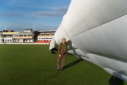 Bio-Cell Hybrid Climate Cover Pitch Protection Inflated with Human for Scale