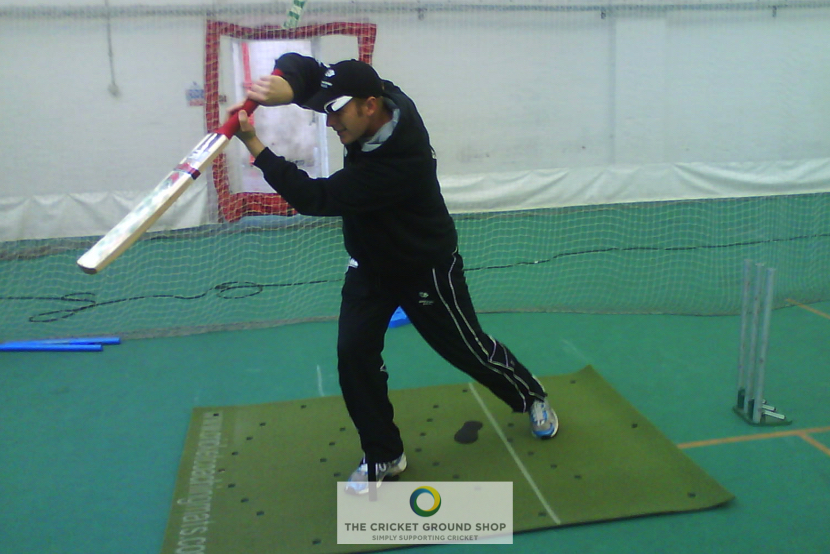 The Cricket Coaching Mat in use