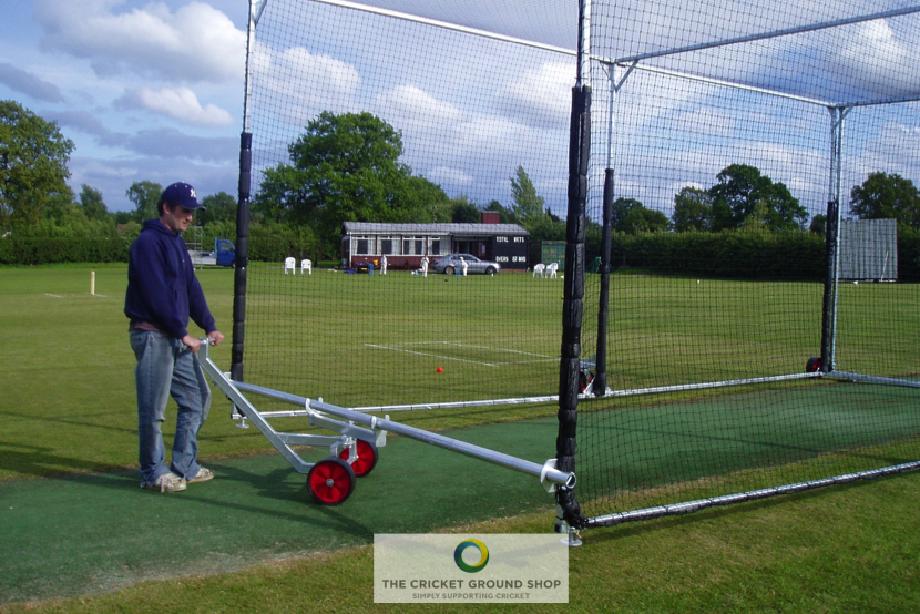 Mobile Batting Cage Easy Wheel System in use