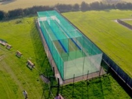 Synthetic cricket practice nets system aerial