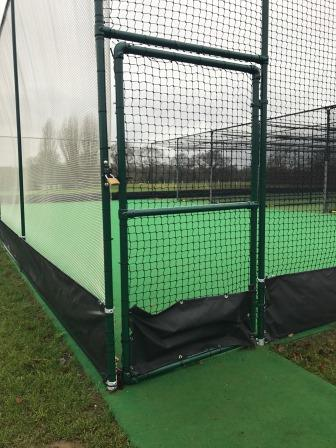 Artificial cricket practice nets pedestrian access gate