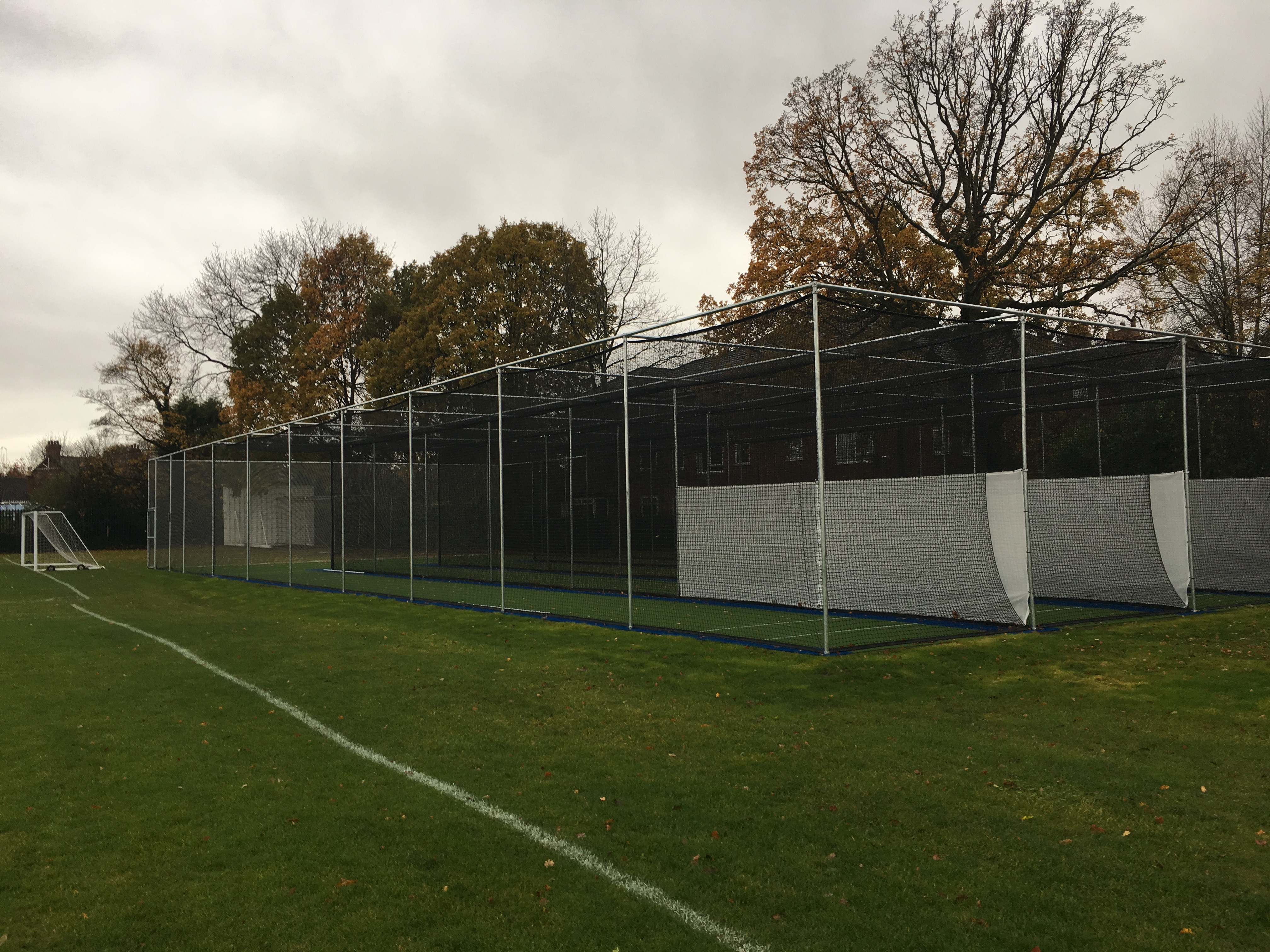 Artificial cricket practice nets at Stockport Grammar School installed by total-play Ltd