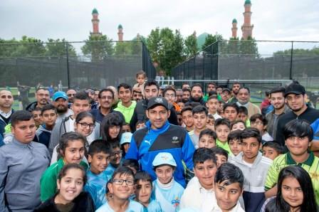 Pakistan Captain Sarfaraz Ahmed visits Bradford Park Avenue's new synthetic cricket nets facility
