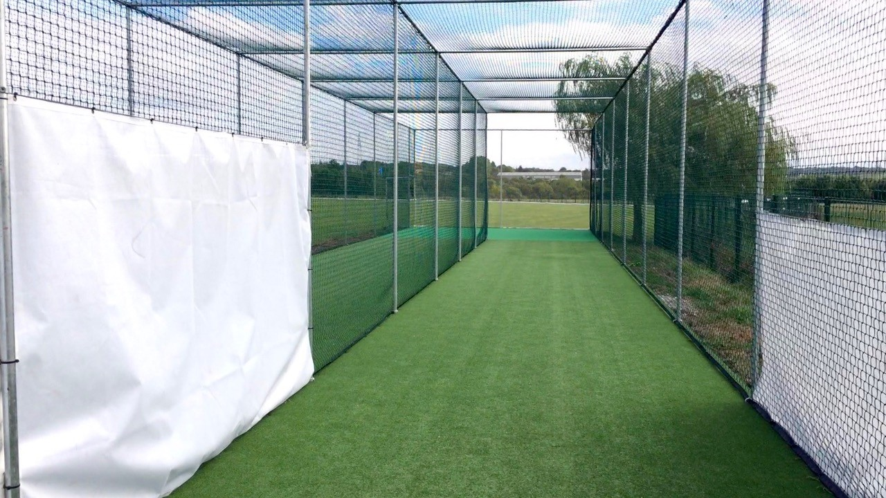 ECB approved non turf cricket pitch in new practice nets facility at Low Moor Holy Trinity CC - designed and installed by total-play Ltd