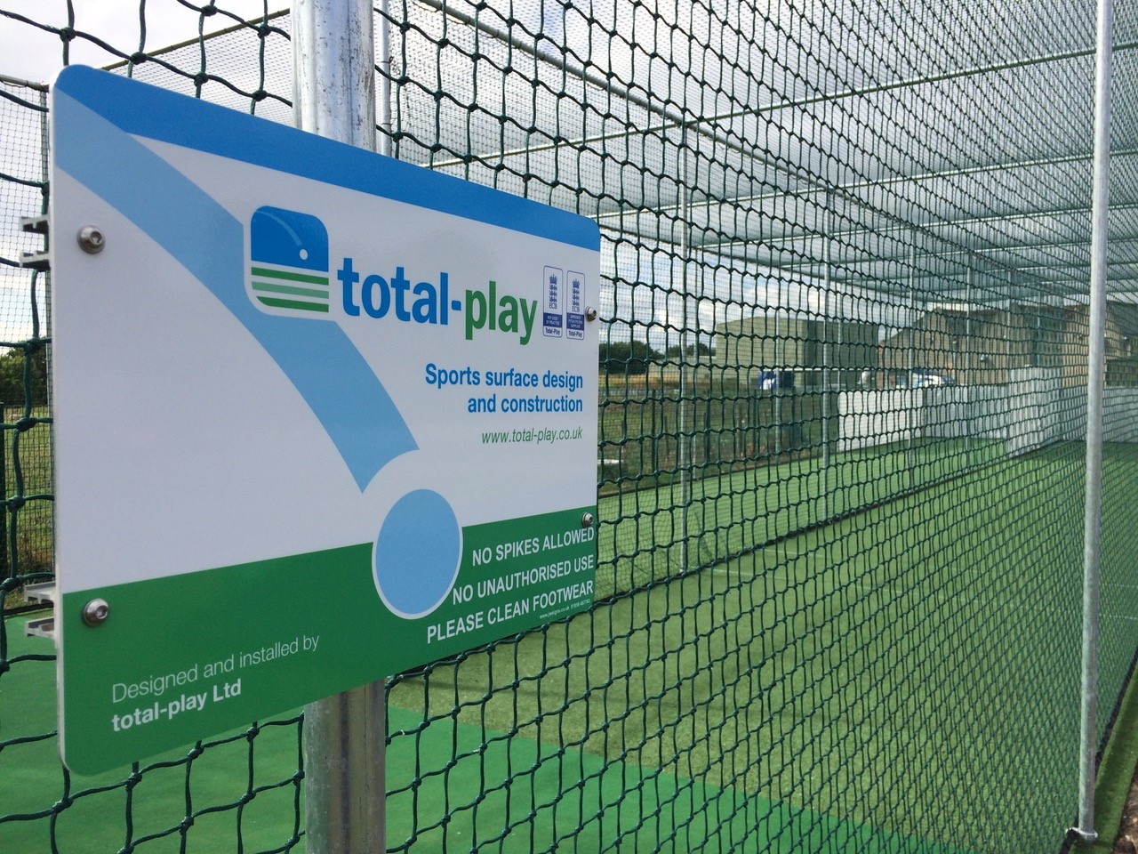 total-play ECB approved non turf cricket pitch in new practice nets facility at Low Moor Holy Trinity CC
